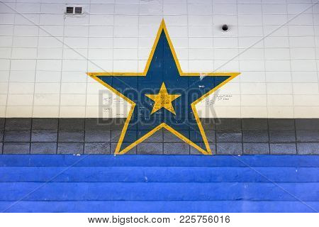 Buenos Aires, Argentina - January 20, 2018: Detail From La Bombonera Stadium In Buenos Aires, Argent