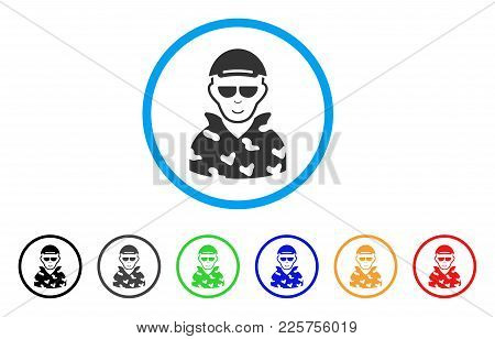 Swat Soldier Rounded Icon. Style Is A Flat Swat Soldier Grey Symbol Inside Light Blue Circle With Bl