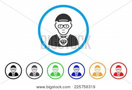 Jeweler Rounded Icon. Style Is A Flat Jeweler Gray Symbol Inside Light Blue Circle With Black, Gray,