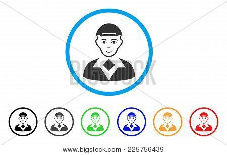 Man Rounded Icon. Style Is A Flat Man Gray Symbol Inside Light Blue Circle With Black, Gray, Green,