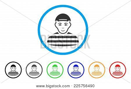 Prisoner Rounded Icon. Style Is A Flat Prisoner Gray Symbol Inside Light Blue Circle With Black, Gra