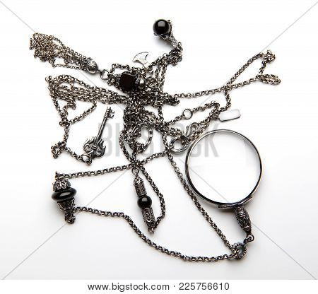 Silver Vintage Chain White Background Studio Quality