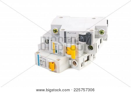 Modular Circuit Breaker On White Background. Electrical Network Protection And Switching