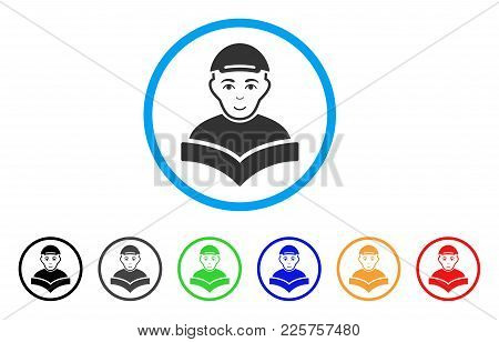 Reading Schoolboy Rounded Icon. Style Is A Flat Reading Schoolboy Grey Symbol Inside Light Blue Circ