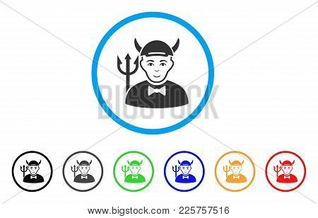 Devil Rounded Icon. Style Is A Flat Devil Grey Symbol Inside Light Blue Circle With Black, Gray, Gre
