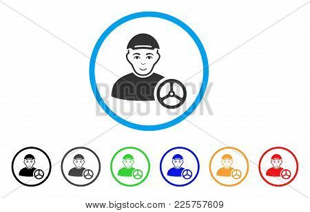 Car Driver Rounded Icon. Style Is A Flat Car Driver Grey Symbol Inside Light Blue Circle With Black,