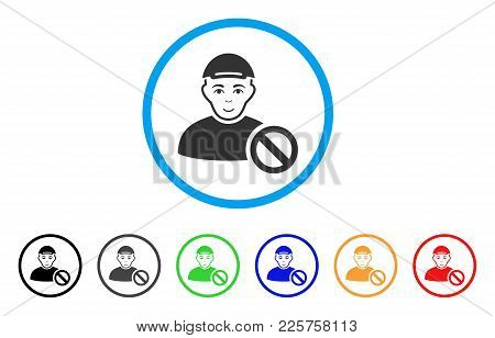 Forbidden Man Rounded Icon. Style Is A Flat Forbidden Man Grey Symbol Inside Light Blue Circle With