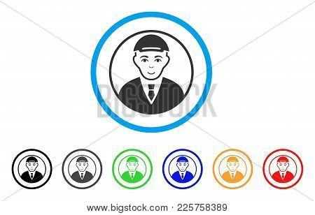 Rounded Man Portrait Rounded Icon. Style Is A Flat Rounded Man Portrait Gray Symbol Inside Light Blu