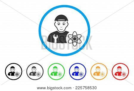 Science Engineer Rounded Icon. Style Is A Flat Science Engineer Grey Symbol Inside Light Blue Circle