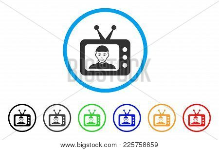 Tv Dictor Rounded Icon. Style Is A Flat Tv Dictor Grey Symbol Inside Light Blue Circle With Black, G