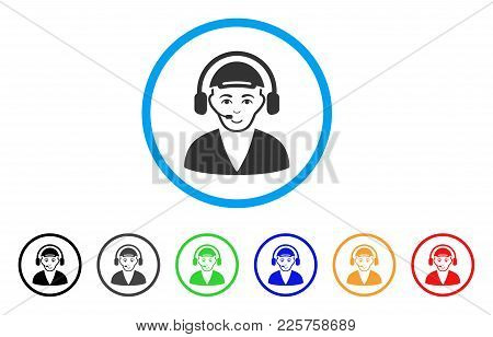 Call Center Operator Rounded Icon. Style Is A Flat Call Center Operator Gray Symbol Inside Light Blu