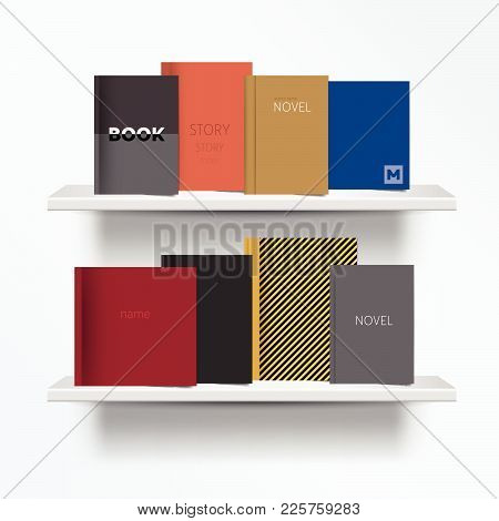 Bookshelf. Front View Of Books Cover Standing On Grey Background With Shadows. Vector Illustration.