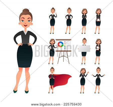 Pretty Businesswoman Working Character Set. Sucessful Entrepreneur Lady In Office Work Situations. C