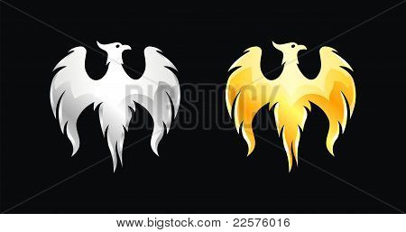 Phoenix bird wings silver and gold (vector)