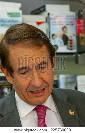Portrait Of Bernabe Tierno At The Book Fair In Madrid On January 10, 2011