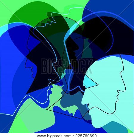 Heads People Concept, Symbol Of Communication Between People. Vector Ilustration.