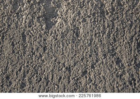Grey Wall Texrute. Rouch Concrete Background. Old Cement Surface Textured Closeup. Weathered Grunge