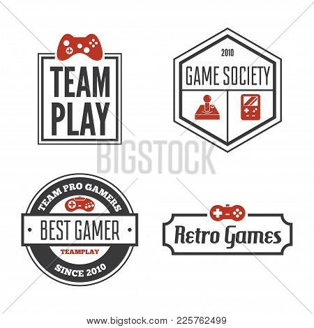 Vector Set Of Game Play Joystick In Vintage Style. Design Elements, Icons, Logo, Emblems And Badges