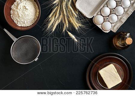 Dough Preparation Recipe Bread, Pizza Or Pie Making Ingredients, Food Flat Lay On Kitchen Table Back
