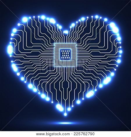 Abstract Neon Electronic Circuit Board With Cpu In Shape Of Heart, Technology Background
