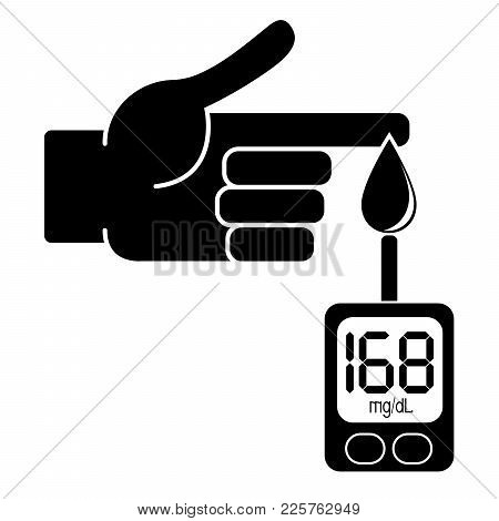 Measurement Of Glucose In The Blood With A Glucometer. Value In Millimoles Per Liter. Value In Milli
