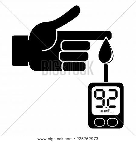 Measurement Of Glucose In The Blood With A Glucometer. Value In Millimoles Per Liter. Vector Illustr