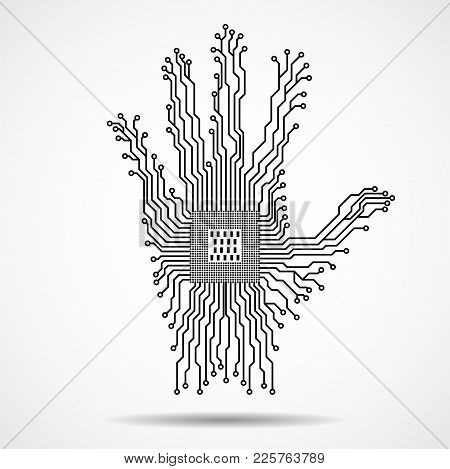 Abstract Hand. Cpu. Circuit Board. Vector Illustration. Eps 10
