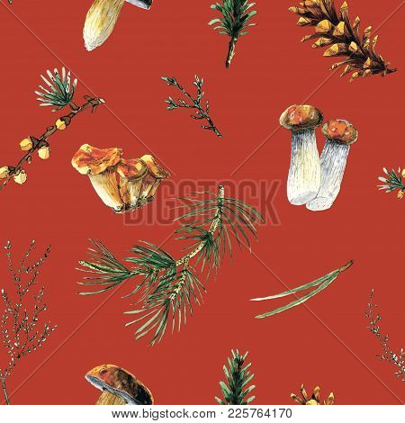 Pine And Mushrooms Watercolor Seamless Pattern Illustration On Red Background. Will Be Good For Deco