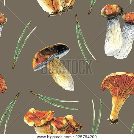 Watercolor Seamless Pattern With Pine Needles And Mushrooms. Looks Perfectly At Gift Wrapping, Boxes
