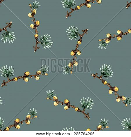 Seamless Pattern Illustration With Pine Branches And Cones On Blue Gray Background. Will Be Good For