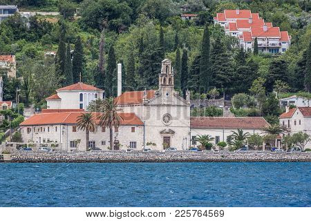 St Nicholas Church In Prcanj, Small Village In The Kotor Bay, Montenegro