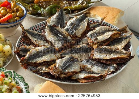 Traditional Moroccan stuffed sardines close up