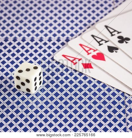 Dice And A Strong Combination Of Four Aces Objects For Popular Table Games All Over The World