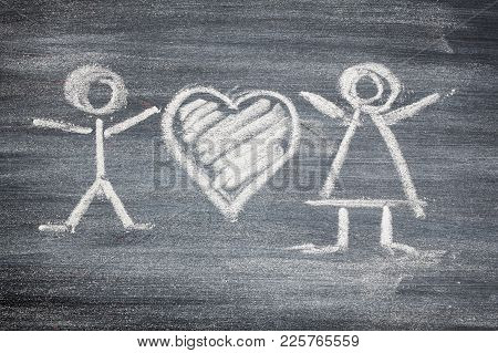 Chalk Black Man Woman Heart Chalk Board, Envelope, Red Heart For Your Design. Beautiful.