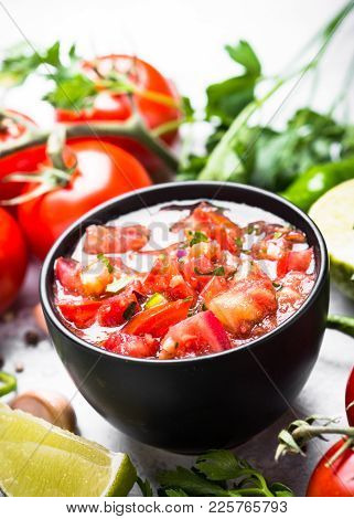Salsa Sauce In A Bowl And Ingredients.  Traditional Latin American Cuisine.