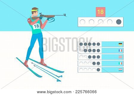 Winter Sport Biathlon. Biathlete Shooting In The Standing Position. Rifleman With A Small-caliber Ri