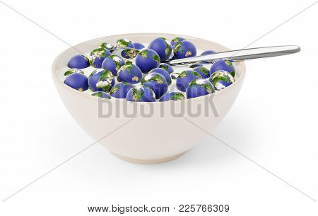 Bowl Full Of World Globes And Milk With A Spoon. 3d Illustration