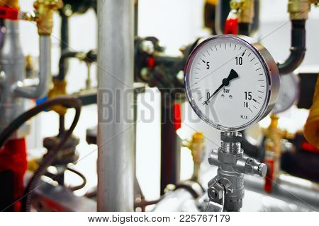 The Equipment Of The Boiler-house, - Valves, Tubes, Pressure Gauges