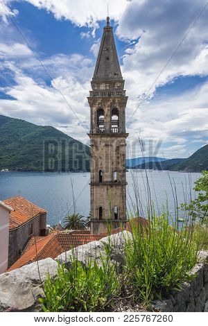 Tower Of St Nicholas Church In Perast, Old Coastal Town In Kotor Bay, Montenegro