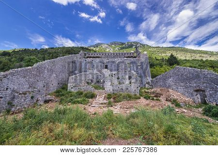 Walls Of Fort Of St Corss In Perast, Old Coastal Town In Kotor Bay, Montenegro