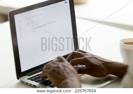 African Businessman Typing E-mail On Laptop Using Online Application Pc Software, Black Man Mailing