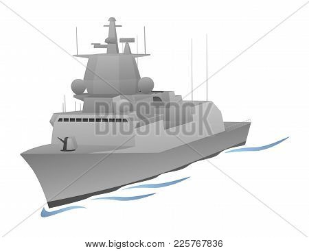 Naval Military War Ship Sailing Vector Graphic