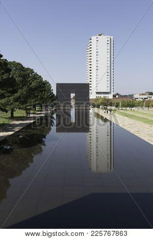 Oklahoma City, Oklahoma - October 14, 2015: Oklahoma City National Memorial Reflecting Pool And The