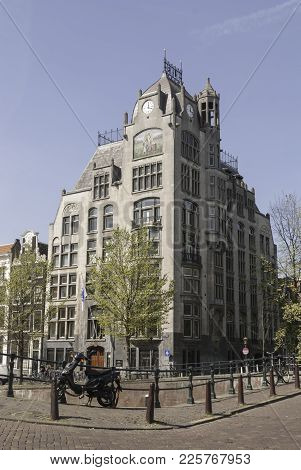 Amsterdam, Netherlands - April 29, 2007: The Astoria Building In Amsterdam Is An Art Nouveau Office