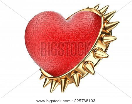 Evil Red Heart Covered Leather And Golden Ring With Thorns. Isolated Over White Background 3d Illust
