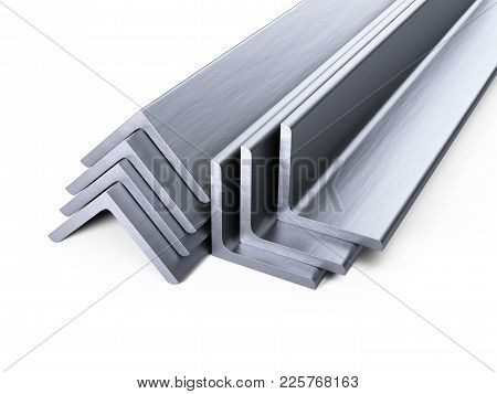 Steel Corner Profiles. L-profile Set. 3d Illustration Isolated Over White Background.