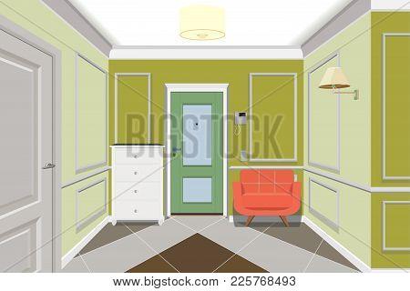 Modern Hallway With Door. Dresser And Sofa Near Wall.