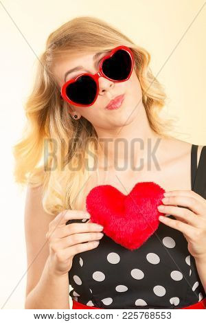 Woman Blonde Lovely Girl Wearing Dotted Dress Sunglasses Holding Red Heart Love Symbol Studio Shot O