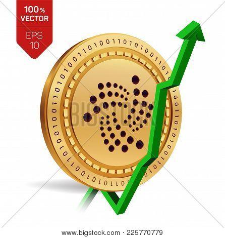 Iota. Growth. Green Arrow Up. Iota Index Rating Go Up On Exchange Market. Crypto Currency. 3d Isomet