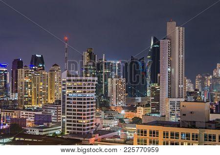 Panama City, Panama - November 2, 2017: Skyline Of Panama City At Night With Buildings Of Generalli,